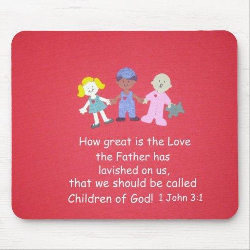 Niños con verso de la biblia tapetes de raton