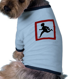 Niños corrientes del peligro, señal de tráfico, la camisetas de perrito
