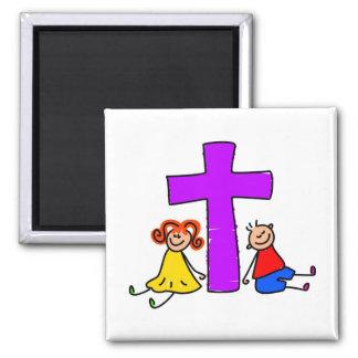 Niños cristianos imán cuadrado