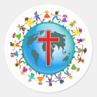 Niños cristianos pegatina redonda