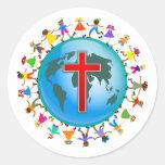 Niños cristianos pegatinas redondas