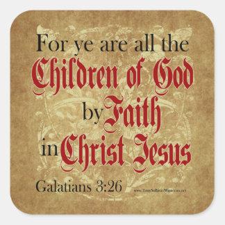 Niños de dios por la fe pegatinas cuadradases personalizadas
