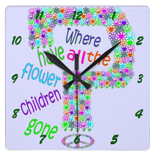 Niños de flor reloj cuadrado