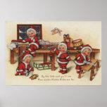 Niños de GreetingLittle del navidad en el banco de Póster