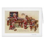Niños de GreetingLittle del navidad en el banco de Tarjeta De Felicitación