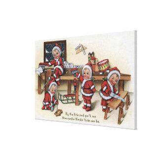 Niños de GreetingLittle del navidad Lona Estirada Galerias