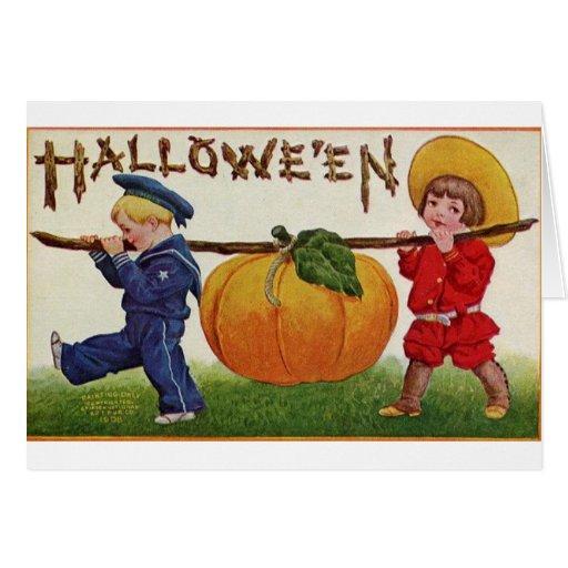 Niños de Halloween Tarjeton
