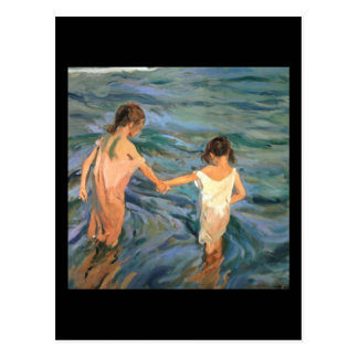 Niños de Joaquín Sorolla y Bastida en el mar Postales