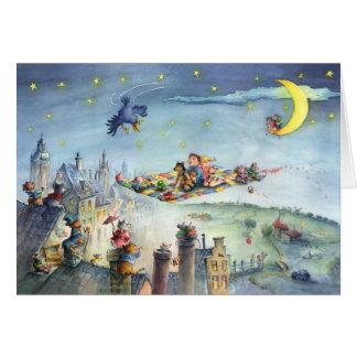 Niños de la alfombra de vuelo - tarjeta de felicit