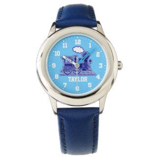 Niños de la diversión nombrados reloj azul del