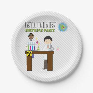 Niños de la fiesta de cumpleaños de la ciencia platos de papel