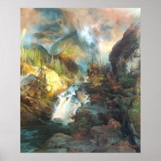 Niños de la montaña, por Thomas Moran Póster