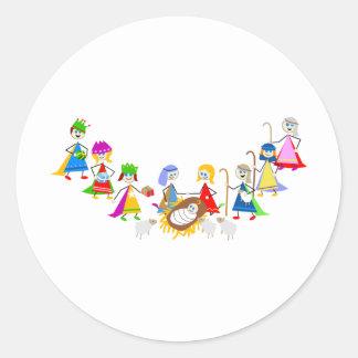 Niños de la natividad pegatina redonda
