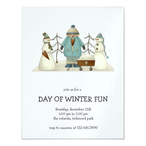 """Niños de la nieve · Niño y muñecos de nieve Invitación 4.25"""" X 5.5"""""""