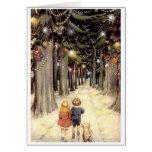 Niños de la tarjeta de Navidad del vintage en el c
