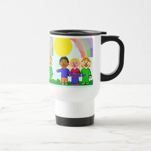 Niños de la unidad tazas de café