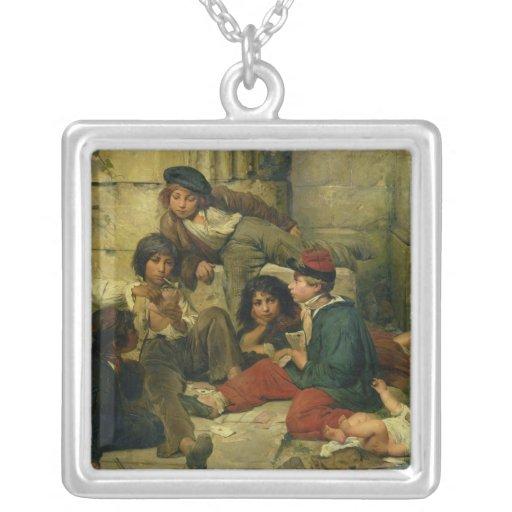 Niños de las calles de París, 1852 Colgante Cuadrado
