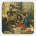 Niños de las calles de París, 1852 Calcomanías Cuadradass Personalizadas