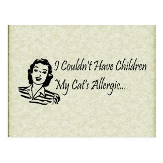 Niños de los gatos no tarjeta postal