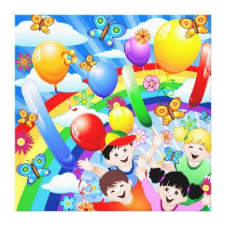 Niños de los niños del feliz cumpleaños impresión en tela