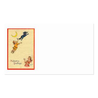 Niños de luna crecientes del gato negro plantilla de tarjeta de visita