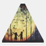 Niños de luna pegatina triangular