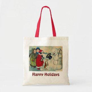 niños de Navidad del vintage Bolsas Lienzo