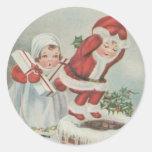 Niños de Santa del vintage Etiquetas Redondas
