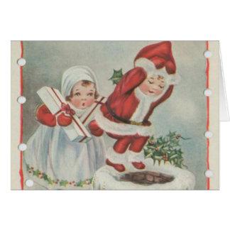 Niños de Santa del vintage Felicitacion