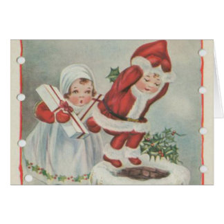 Niños de Santa del vintage Tarjeta De Felicitación