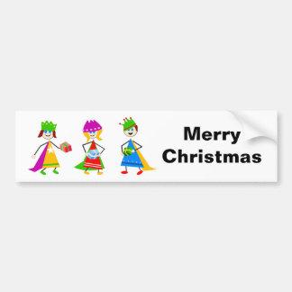 Niños de unos de los reyes magos MerryChristmas Etiqueta De Parachoque