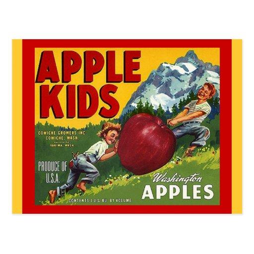 Niños de Washington Apple del vintage que etiqueta Tarjeta Postal