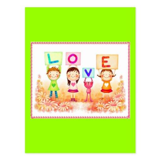 niños del amor tarjeta postal