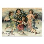 Niños del ángel de las Felices Navidad del vintage Tarjetas