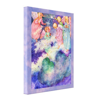 Niños del ángel del vintage que juegan en las estr impresión en lienzo