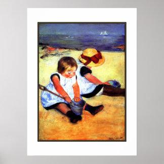 Niños del arte dos del vintage del poster en la pl