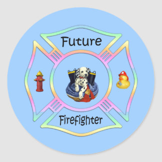 Niños del bombero etiquetas redondas