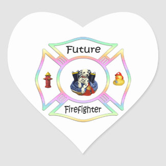 Niños del bombero pegatina de corazon personalizadas