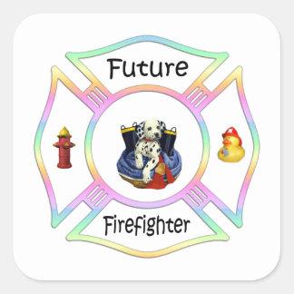 Niños del bombero calcomanias cuadradas
