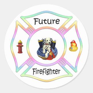 Niños del bombero etiqueta redonda