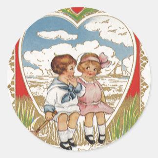 Niños del día de San Valentín del Victorian del Pegatina Redonda