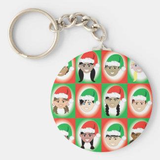 Niños del gorra de Santa del navidad Llavero Personalizado