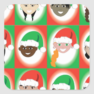 Niños del gorra de Santa del navidad Pegatina Cuadrada