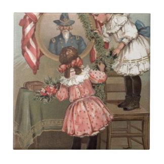 Niños del monumento de la unión de la guerra civil azulejo cuadrado pequeño
