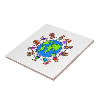 Niños del mundo azulejo cuadrado pequeño