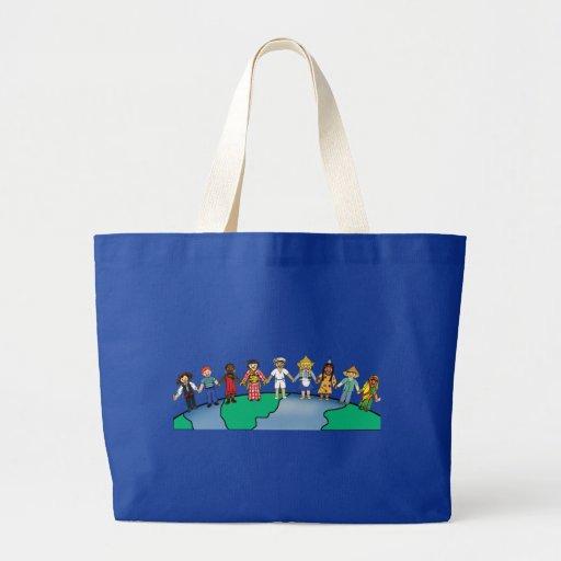Niños del mundo bolsa de tela grande
