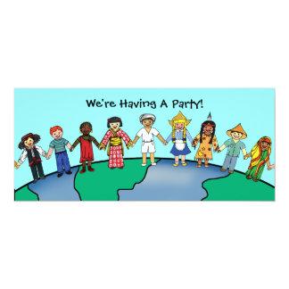 """Niños del mundo invitación 4"""" x 9.25"""""""