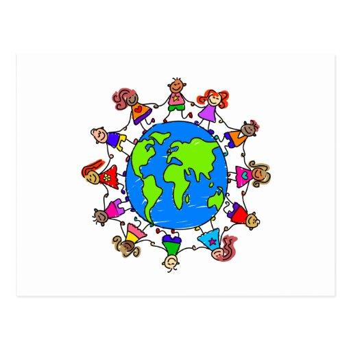 Niños del mundo tarjetas postales