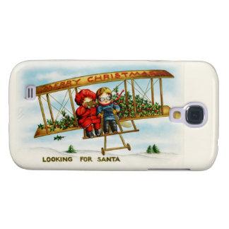 Niños del navidad del vintage que buscan Santa Funda Para Galaxy S4