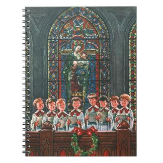 Niños del navidad del vintage que cantan al coro cuaderno